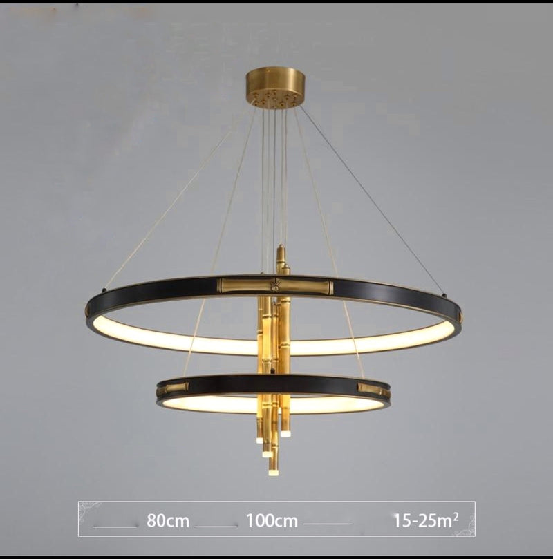 London Two-Tier Modern Rounded Metal Chandelier - Venetto DesignDia80CM Dia50CM / Warm Light