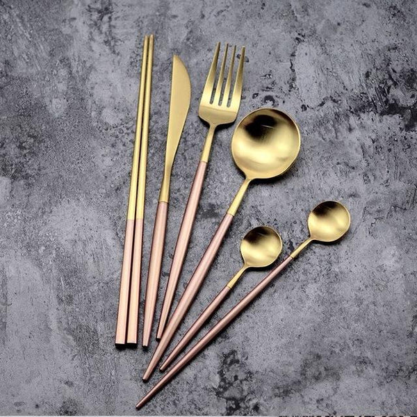 Flatware Arya Pink Gold Cutlery Set - Venetto Design36 Pieces Set