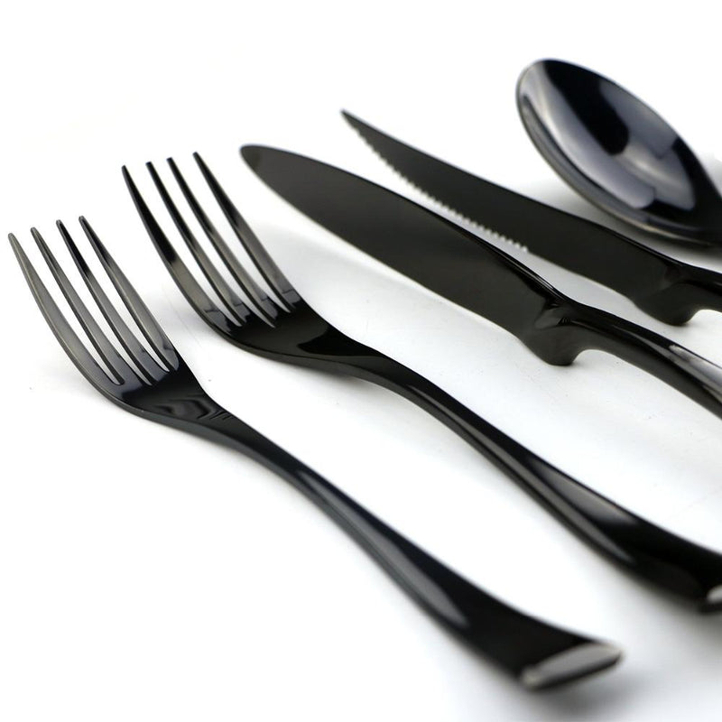 Flatware Jet Black Cutlery Full Set - Venetto Design