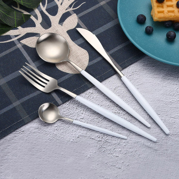 Flatware ARYA WHITE SILVER FLATWARE - Venetto Design