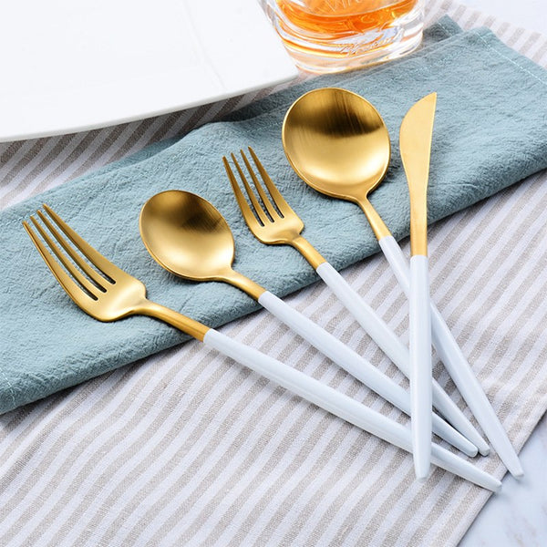 Flatware Arya White Gold Cutlery Set - Venetto Design30 PIECES SET