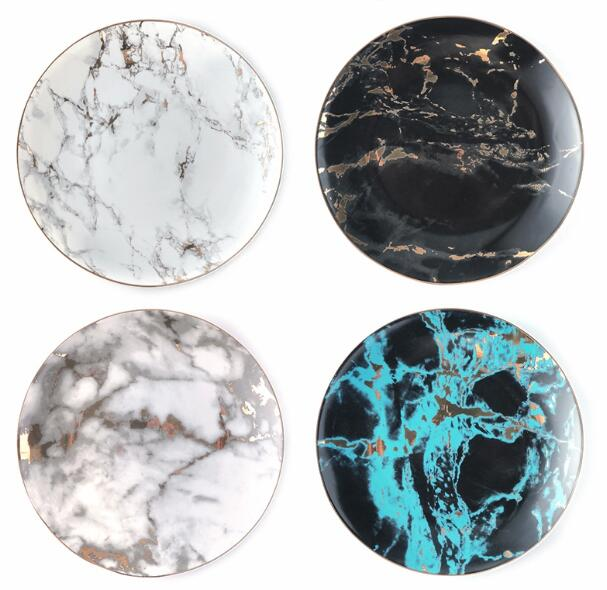 Plate Marble Plate - Venetto Design4 pcs set / 8 inches