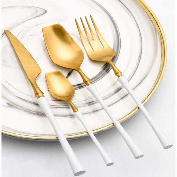 Flatware Venice White Gold cutlery Set - Venetto Design