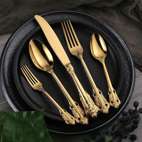 Flatware Ducal Cutlery Set - Venetto Design30 Pieces Set / Gold