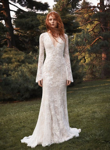 White by Vera Wang Bell Sleeve Lace Dress