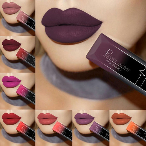 PUDAIER Waterproof Velvet Liquid Lipstick Sexy Red Lip Tint 21 Colors Make up Long Lasting maquiagem Matte Nude Glossy Lipgloss