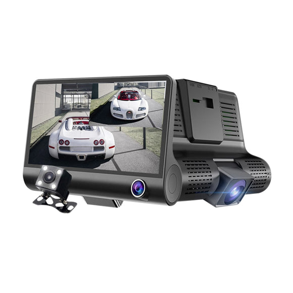 1080P HD 170 Degree  3 Lens Car DVR Dash Cam G-sensor Recorder + Rearview Camera DXY88