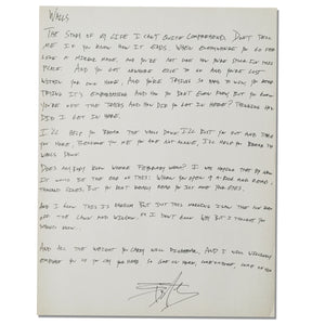 HANDWRITTEN LYRIC SHEET OF YOUR CHOICE + ALL ACCESS
