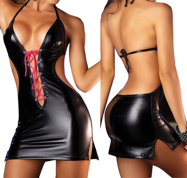 Sexy Lingerie Dress Costumes Sexy Lingerie Erotic Wear Temptation Leather Strap Dance Bodysuit Lingerie