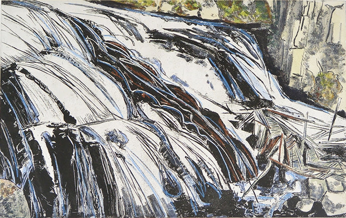 <i>Yellowstone Synergy, Gibbons Falls </i>, Brian Hoxha, 2014, etching and watercolour, AP