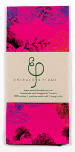 Emerald & Plume Press - Bright Pink Butterfly Tea Towel
