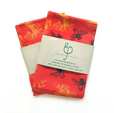Emerald & Plume Press - Bright Red Bee Tea Towel