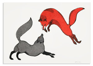 "Quvianaqtuk Pudlat, 2020, Playful Foxes II, screenprint on paper, edition of 30, 22"" x 30""."