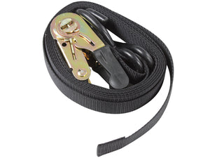 Black Ratchet Strap 25mm X 4M With Hooks