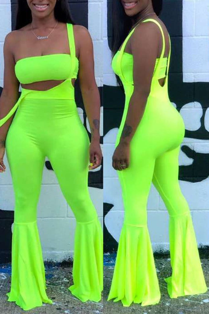 Solid Color Flared Sleeveless Two Piece Sets