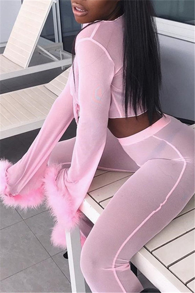 Feather Trim See Through Sexy Four Piece Outfits