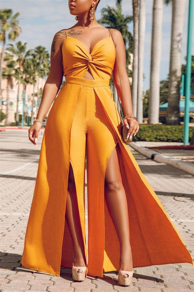 Spaghetti Straps Front Slit Solid Color Overlay Jumpsuit