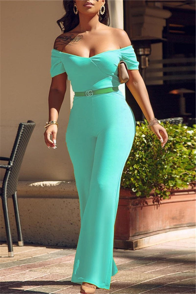 Off the Shoulder Solid Color Jumpsuit Without Belt