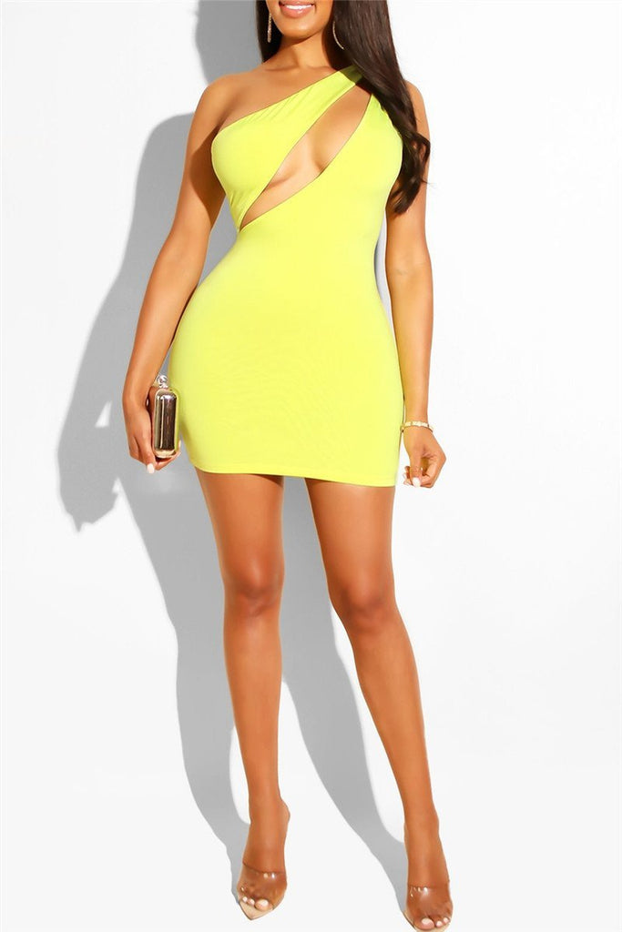 Hollow Out One Shoulder Sexy Mini Dress