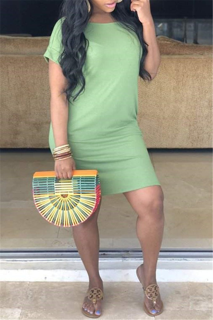 Solid Color Short Sleeve Casual T Shirt Dress