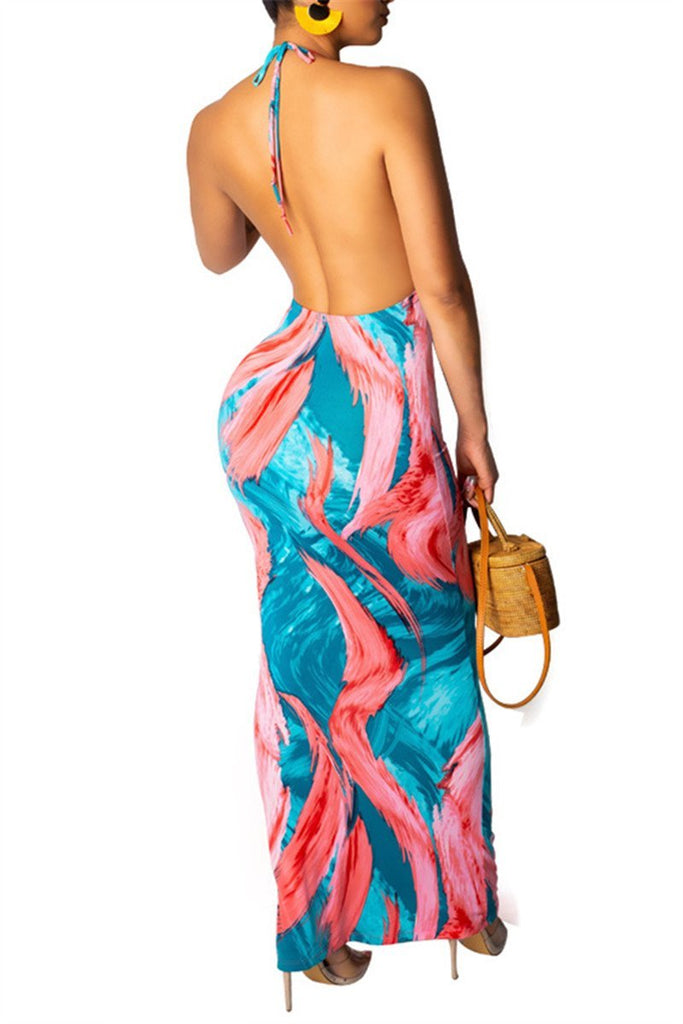 Open Back Printed Maxi Dress