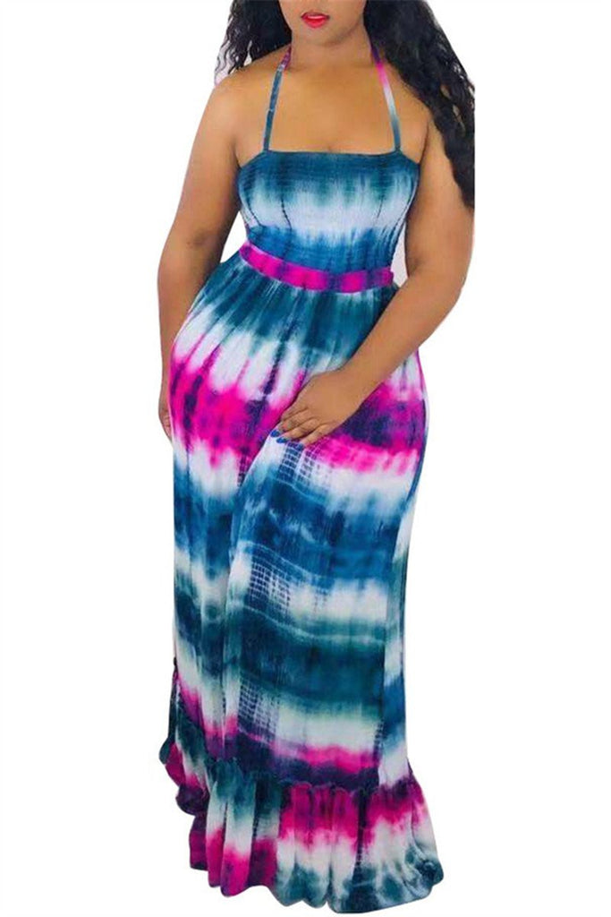 Open Back Tie Dye Print Maxi Dress