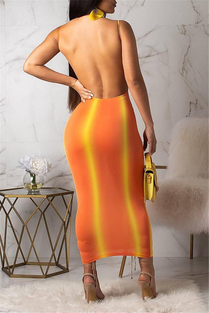 Open Back Stripe Print Sheath Dress