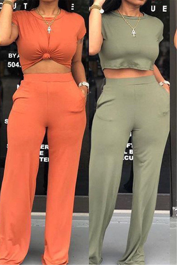 Solid Color Short Sleeve Casual Two Piece Sets
