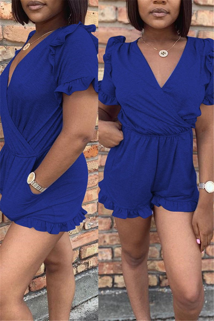 Fungus Edge V Neck Short Sleeve Romper