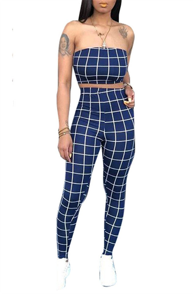 High Waist Strapless Plaid Two Piece Sets
