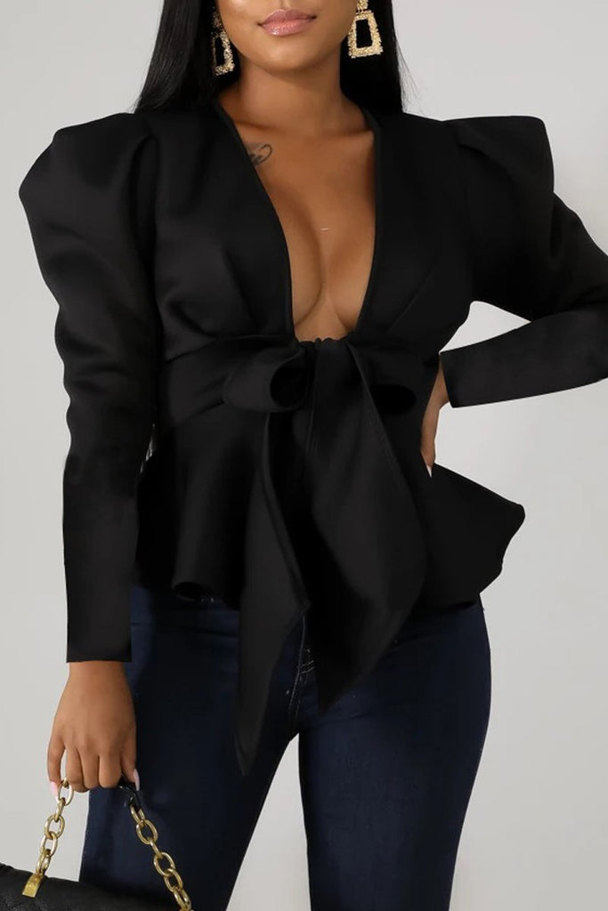 Deep V Neck Lace-up Peplum Waist Blouse