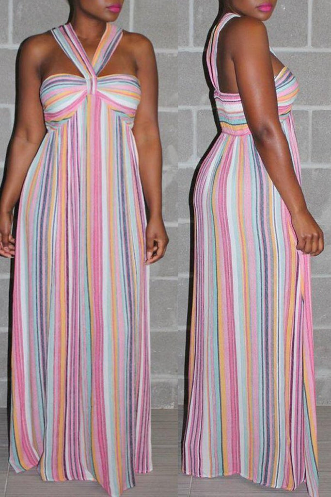 Stripe Print Halter Neck Sleeveless Maxi Dress