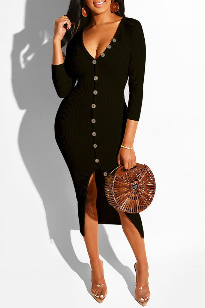 Deep V Neck Slit Hem Long Sleeve Midi Dress
