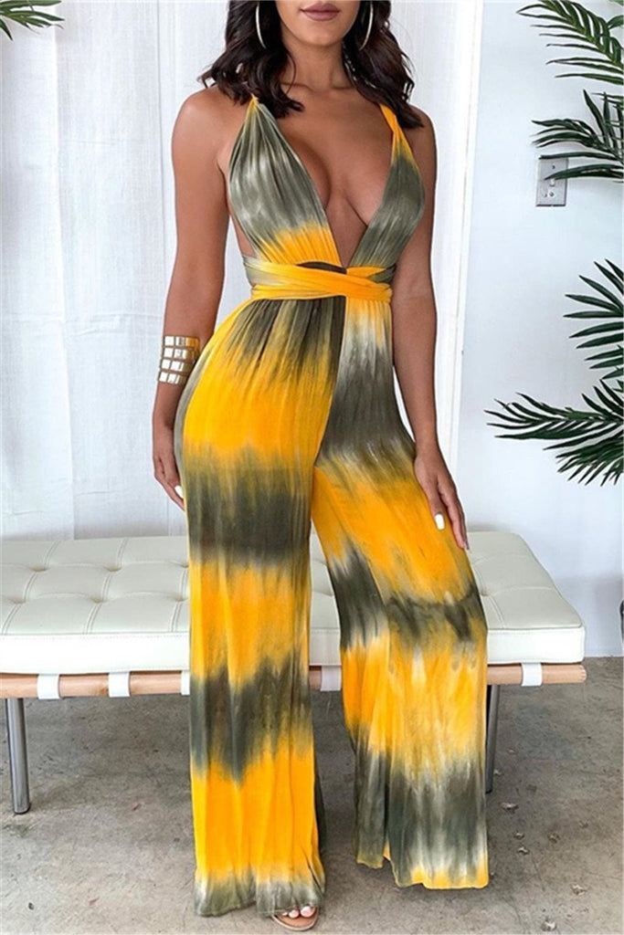 Tie Dye Open Back Sleeveless Jumpsuit