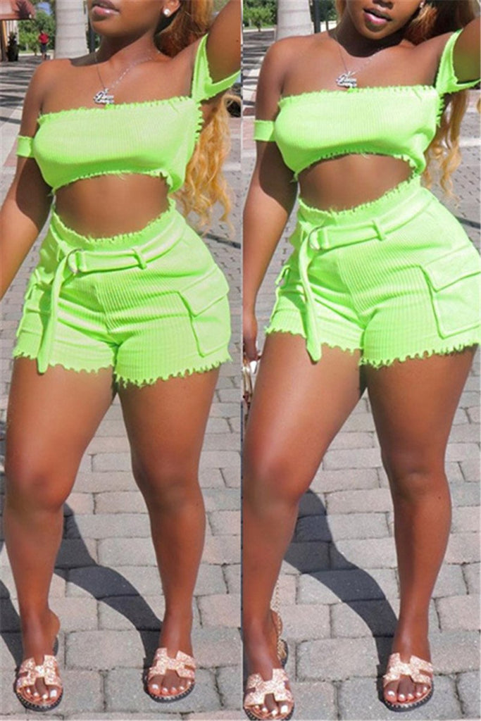 Off the Shoulder Solid Color Top & Shorts