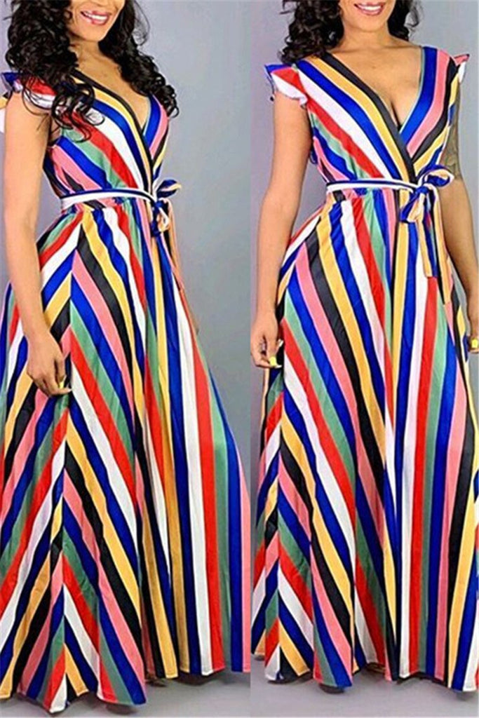 Ruffled Stripe Print Maxi Dress