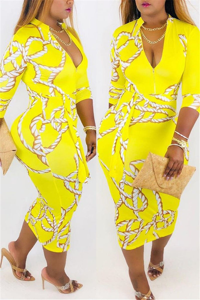 V Neck Printed Midi Dress