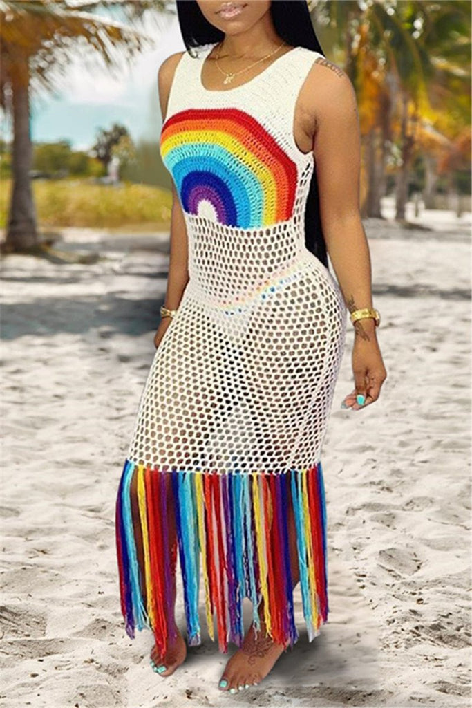 Pierced Rainbow Color Tassels Maxi Dress
