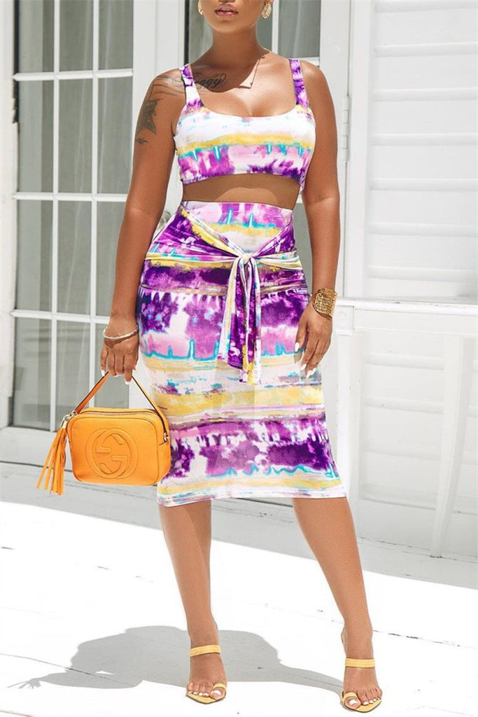 Tie Dye Sleeveless Two Piece Dress