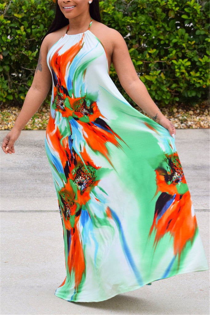 Printed Open Back Maxi Dress