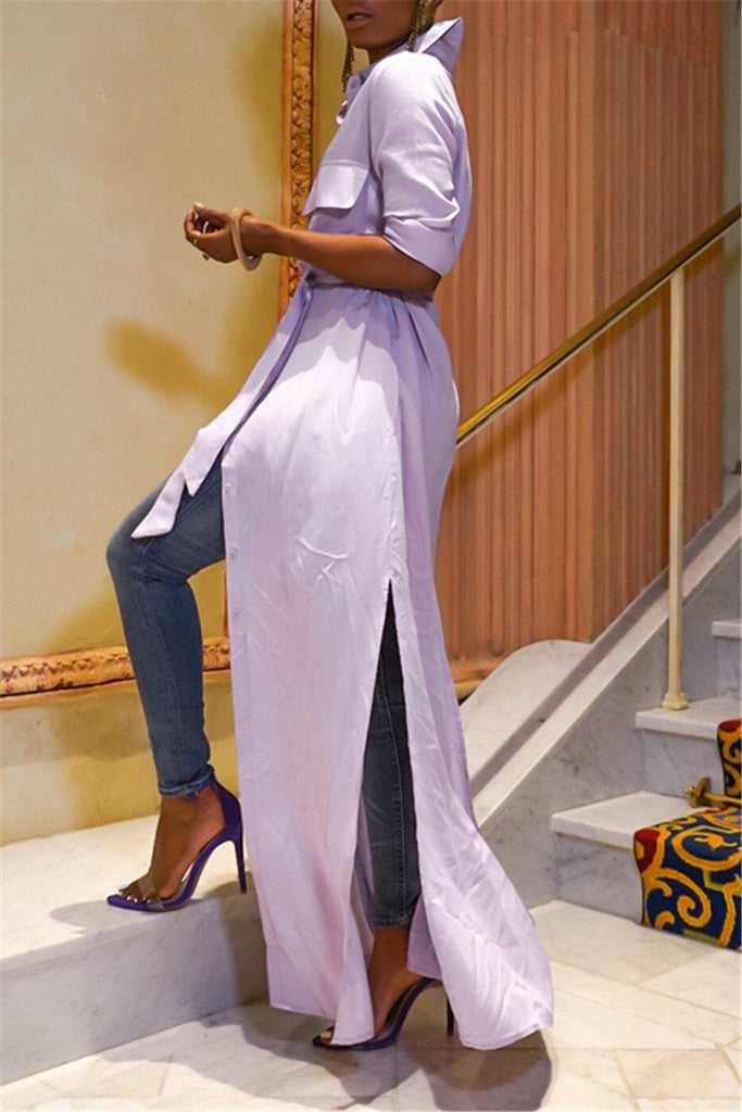 Solid Color Slit Maxi Dress With Belt