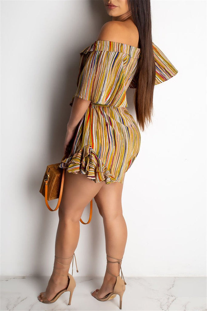 Fungus Edge Printed Romper With Belt