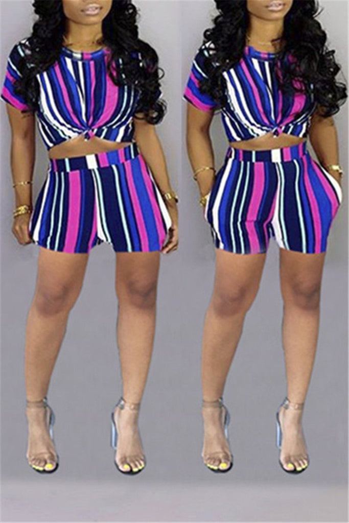 Stripe Print Short Sleeve Two Piece Sets