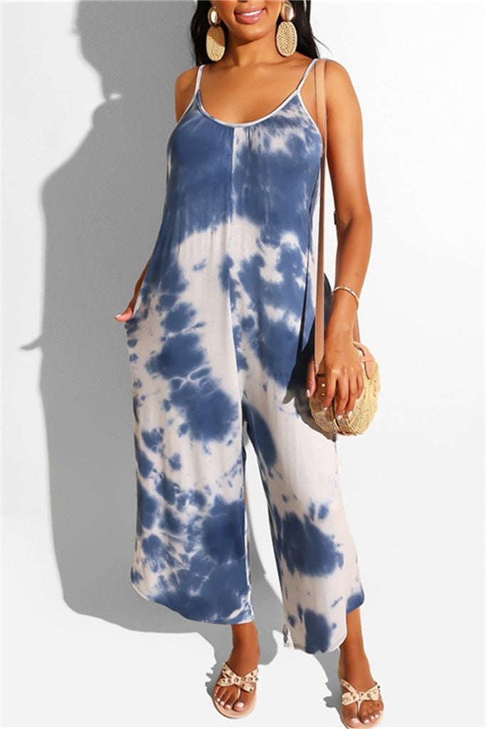 Tie Dye Print Open Back Casual Jumpsuit