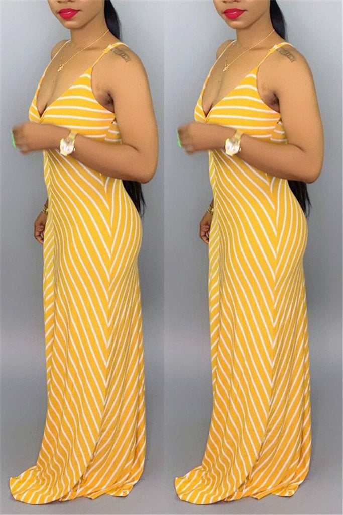 Spaghetti Straps Stripe Print Dress