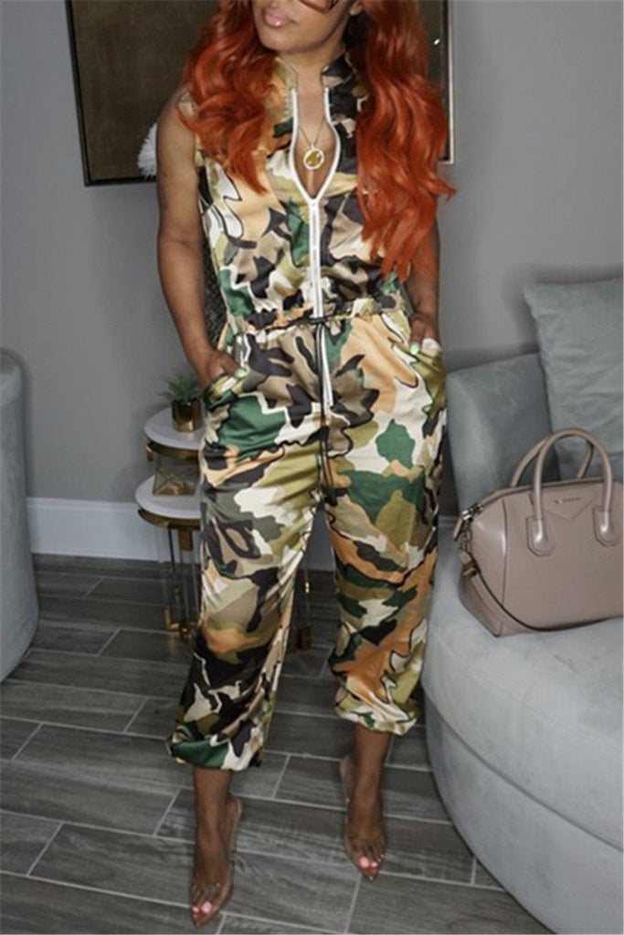 Zip Up Sleeveless Camouflage Jumpsuit