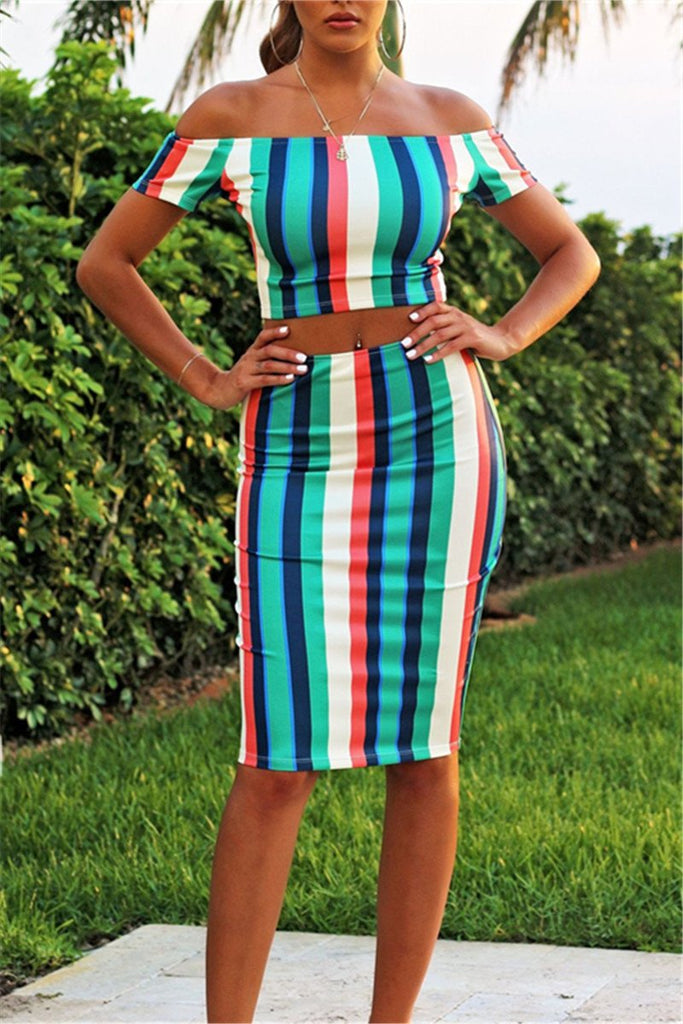 Off the Shoulder Striped Two Piece Dress