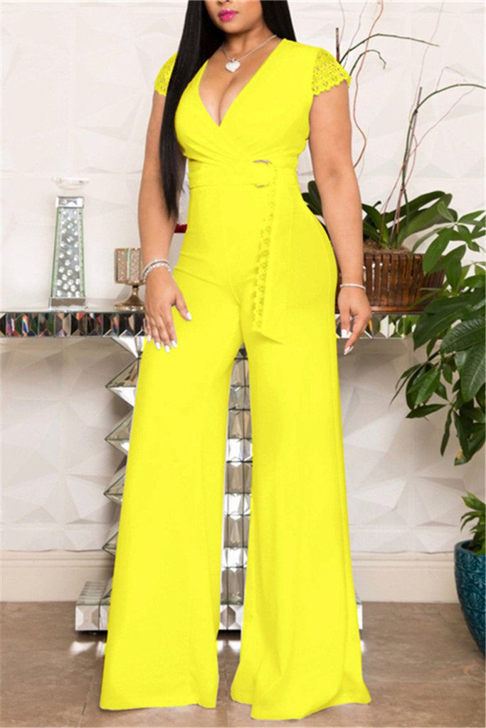 V Neck Solid Color Belted Jumpsuit