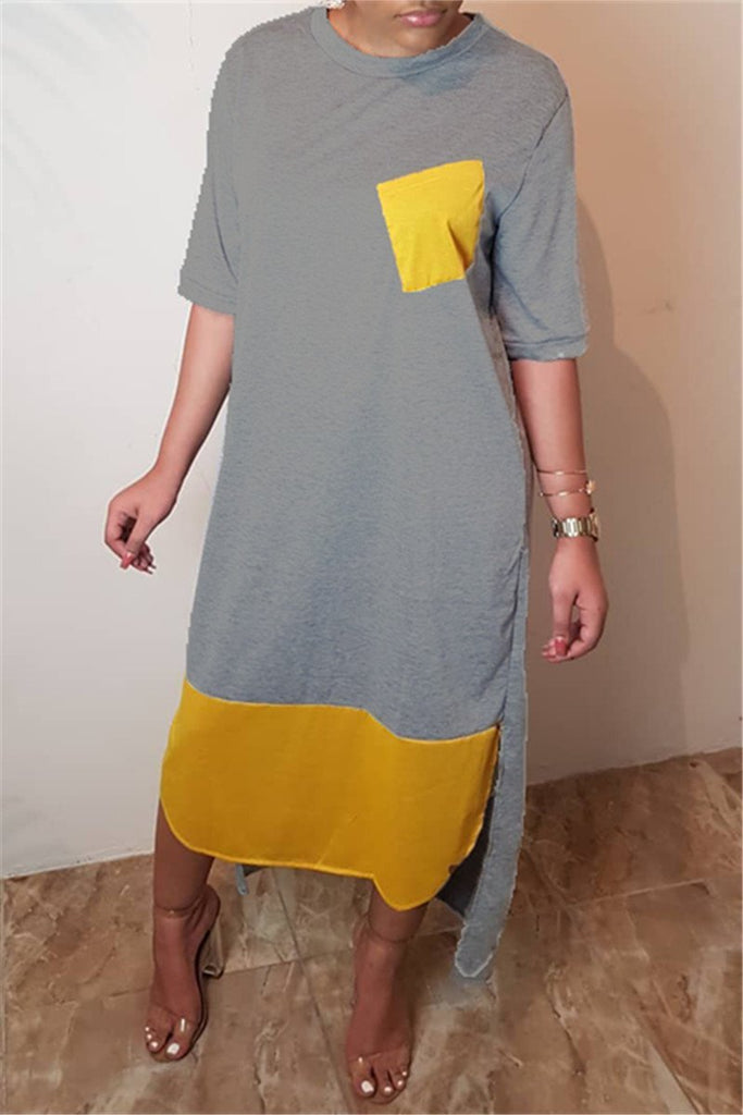 Color Patchwork Asymmetric Casual Dress
