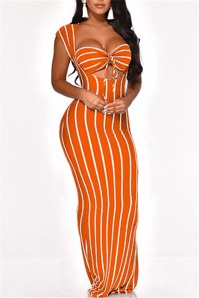 Stripe Print Maxi Two Piece Dress